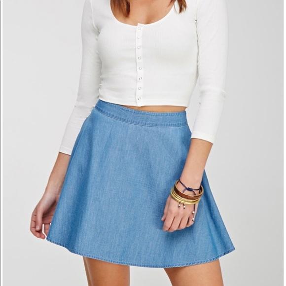 c769acc82 Forever 21 Dresses & Skirts - Forever 21 Skater Denim Skirt Size XS